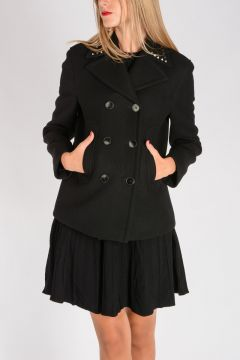 ROCKSTUD UNTITLED 02. Virgin Wool Peacoat with Studs