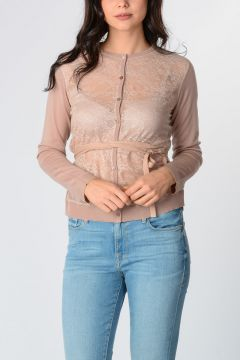 Virgin Wool Lace Cardigan