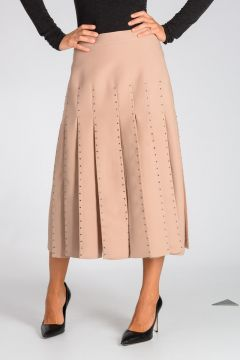 Silk Virgin Wool Skirt with Rhinestone Details