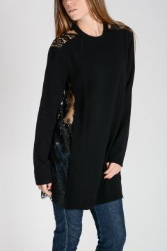Cashmere Blend Knitted Tunic with Lace Back