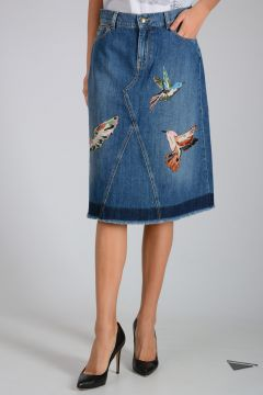 VALENTINO RED Denim Embroidery Skirt
