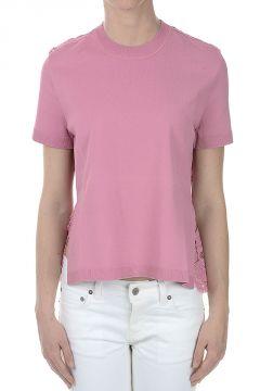 T-Shirt a Girocollo con Ricamo Posteriore