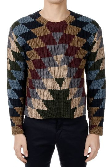 Cotton Knitted Geo Printed Sweater