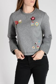 RED VALENTINO Jersey Cropped Sweatshirt with Sequins