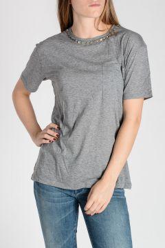T-shirt in Jersey Di Cotone con Borchie