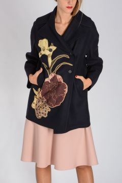 Virgin Wool Peacoat with Floral Embellishment