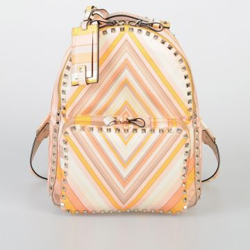 VALENTINO GARAVANI Printed Fabric Backpack with Studs