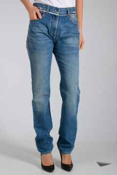 Jeans in Denim con Borchie 17cm