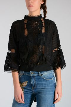 Silk & Macramé Sheer Top