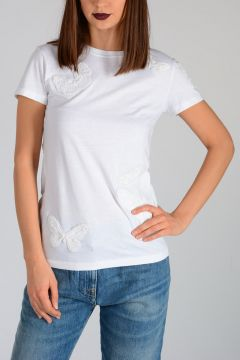 T-Shirt Con Ricami in Perline