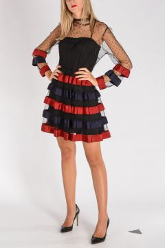 RED VALENTINO Vestito Twin-Set in Tulle con Balze