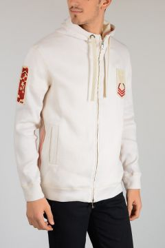 Linen and Cotton Embroidered and Hooded Sweatshirt