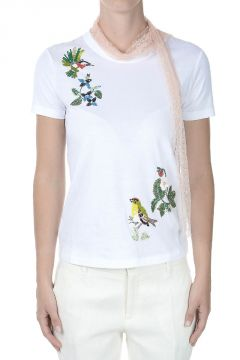 RED VALENTINO T-shirt with Sequins Embroidery