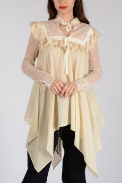 Asymmetric Top with Frill and Lace