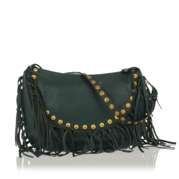 Grained Leather Shoulder Bag with Fringes