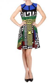Vestito Senza Maniche con Stampa Geometrica