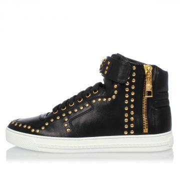 Sneakers In Pelle con Borchie Dorate