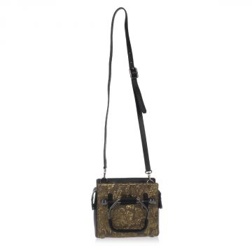 Jacquard Fabric Small Bag with Leather Details