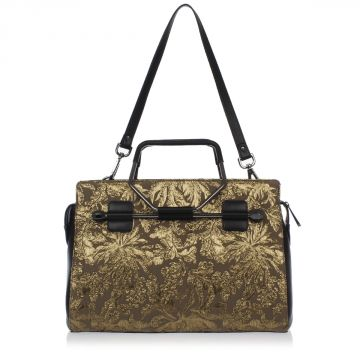 Jacquard Fabric Shopping Bag with Leather Details