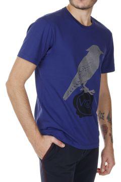T-shirt in Jersey di Cotone con stampa Uccello