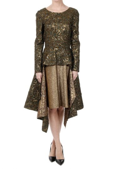 Brocade Fabric Asymmetric Cut Dress