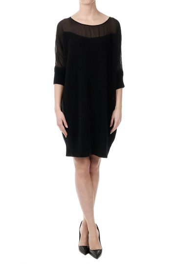Short Sleeves Wool Dress
