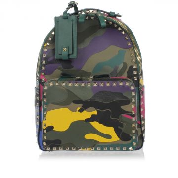 Leather and Fabric Camouflage Back Pack