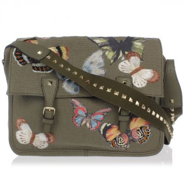 Leather and Fabric Embroidery Messenger Bag