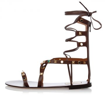 Leather Sandals With Gold Tone Studs