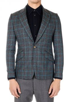Checked Virgin Wool Slim Fit Blazer