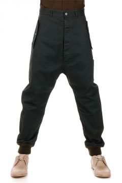 Pantaloni Low Crotch in Cotone Stretch Spalmato