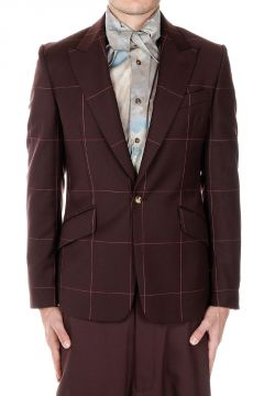 Wool Slim Fit Checked Blazer