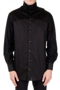 Camicia in Cotone Stretch Collo Alto