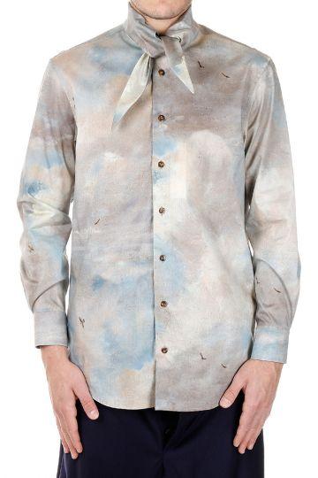 Camicia in Cotone Stretch con Fantasia