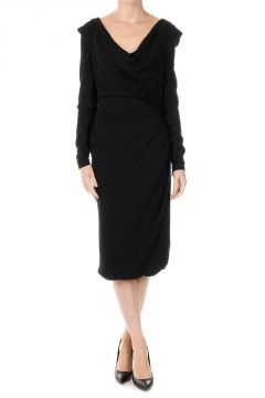 Virgin Wool Blend Long Sleeve Dress