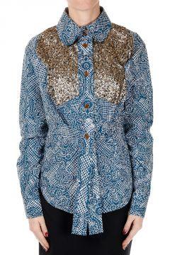 Camicia in Popeline di Cotone con Paillettes