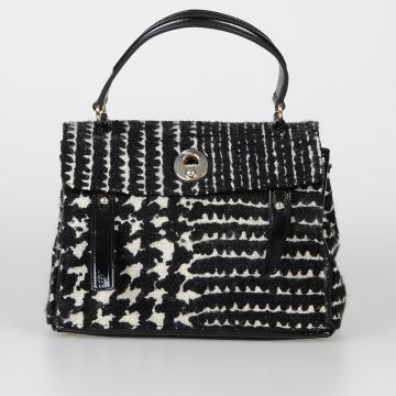 Bicolor Fabric & Patent Leather Bag