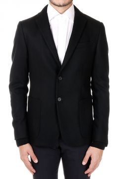Single-Breasted wool Blazer with Knitted cuffs and Collar
