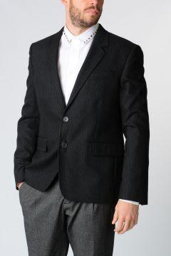 Pinstriped Wool Blend Blazer