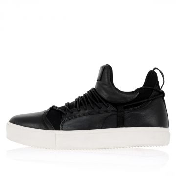 Leather and Technical Fabric Sneaker
