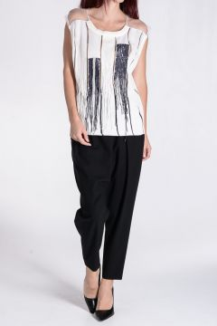 Embroidered Top with Fringes