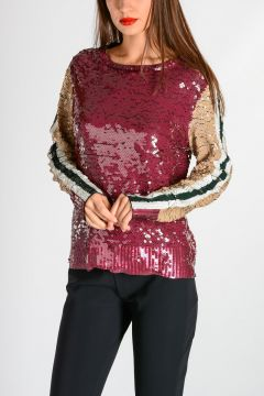Top a Manica Lunga in Paillettes
