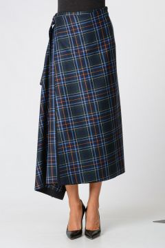 Virgin Wool Checked Skirt