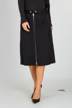 Wool & Cashmere Skirt with Leather Belt
