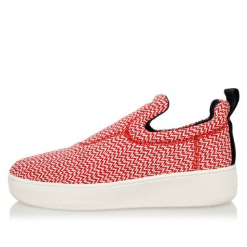 Patterned Fabric Slip On Sneakers