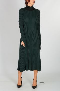Wool Blend Ribbed Dress