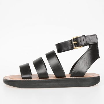 Leather FLAT ANKLE STRAP Sandals