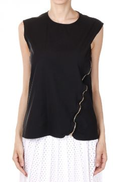 Top in Misto Cotone con Zip