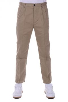 Front Pleats Cotton Trousers