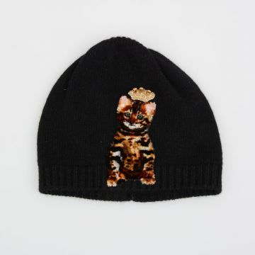Cappello Beanie con Patch Gatto